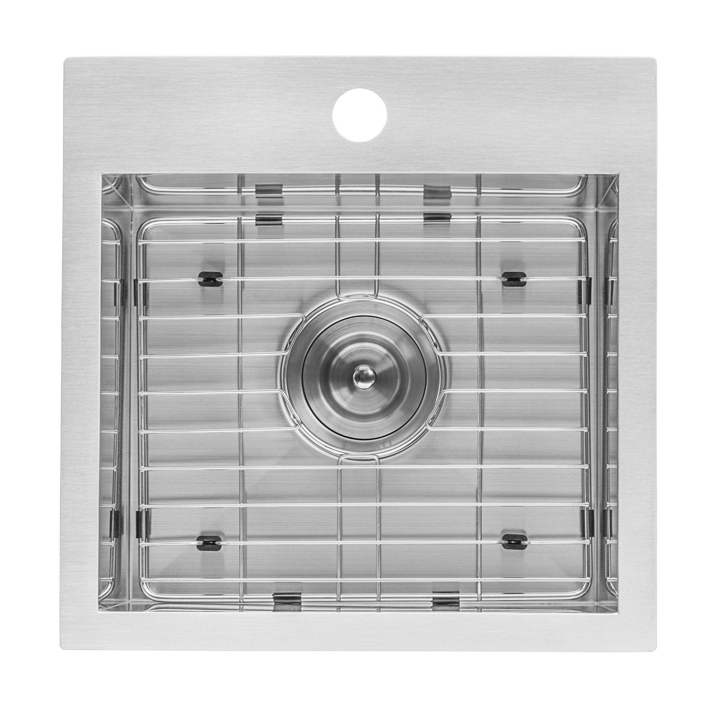 Ruvati 15 x 15 inch Drop-in Topmount Bar Prep Sink 16 Gauge Stainless Steel Single Bowl - RVH8115 by Ruvati (Image #4)
