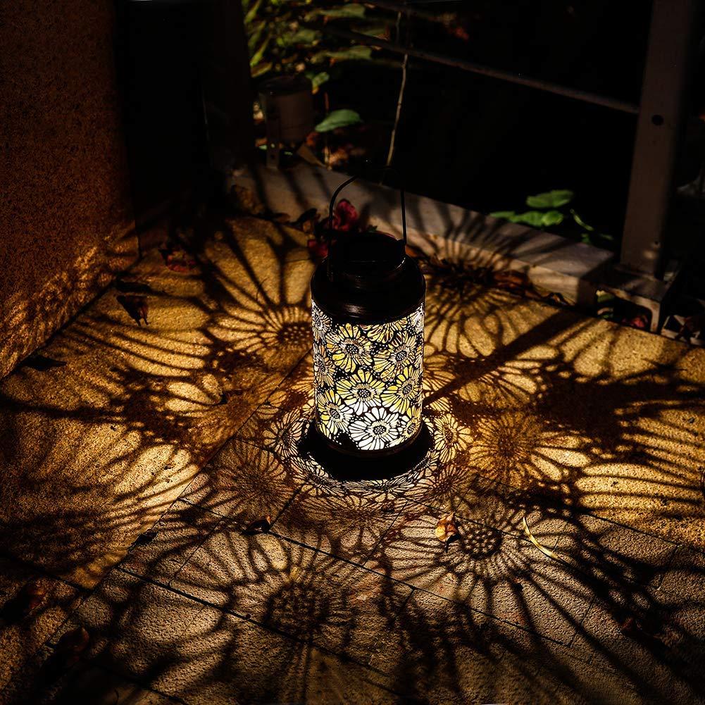 Solar Lantern Outdoor Garden Hanging Lights Retro Metal Chrysanthemum Pattern Lamp for Garden Lawn Patio Table or Gifts
