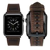 iBazal Cinturino Apple Watch 42mm Pelle, Cinturini Apple Watch Series 3 Cinturino in Cuoio in Vera per 42mm Apple Watch Series 3 & Series 2 & Series 1 - Semplice Caffè 42mm