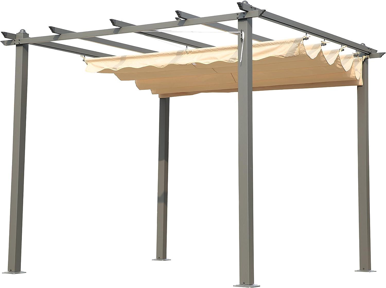 Angel Living® Pérgola de Aluminio con Techo Retráctil, Cenador con Tela de Poliéster Resistente al Agua y a UV, Uso para el Exterior (3x3M): Amazon.es: Jardín