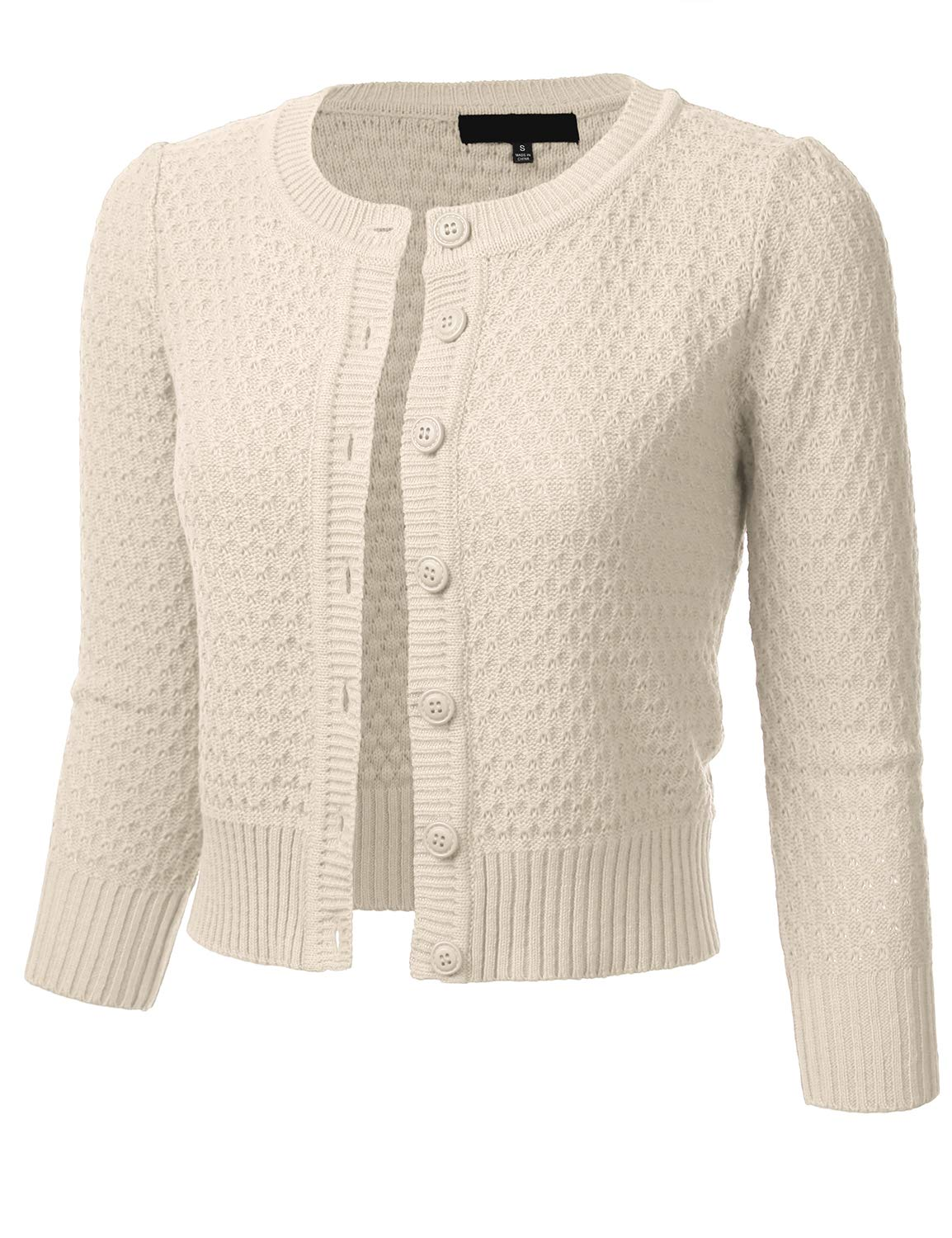 1930s Style Sweaters | Vintage Sweaters FLORIA Womens Button Down 3/4 Sleeve Crew Neck Cotton Knit Cropped Cardigan Sweater (S-3X) $24.99 AT vintagedancer.com