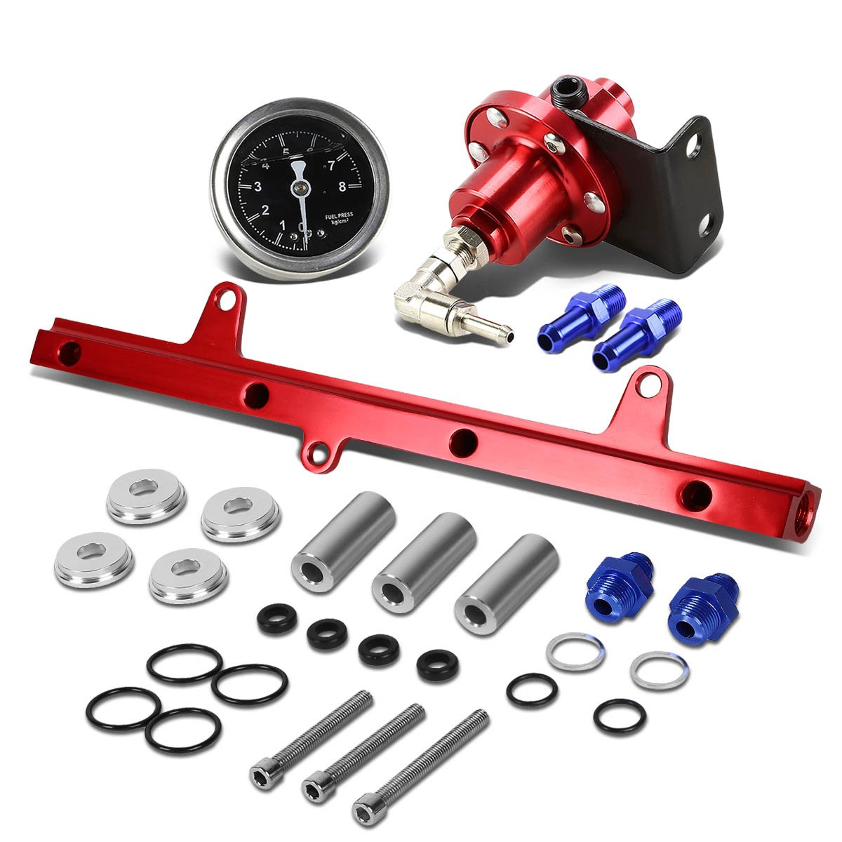 Red For Nissan S13 SR20 Swapped Top Feed Fuel Injector Rail Kit+Fuel Pressure Regulator