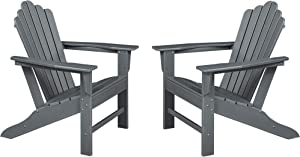 Ehomexpert Classic Outdoor Adirondack Chair Set of 2 for Garden Porch Patio Deck Backyard, Weather Resistant Accent Furniture, Slate Grey