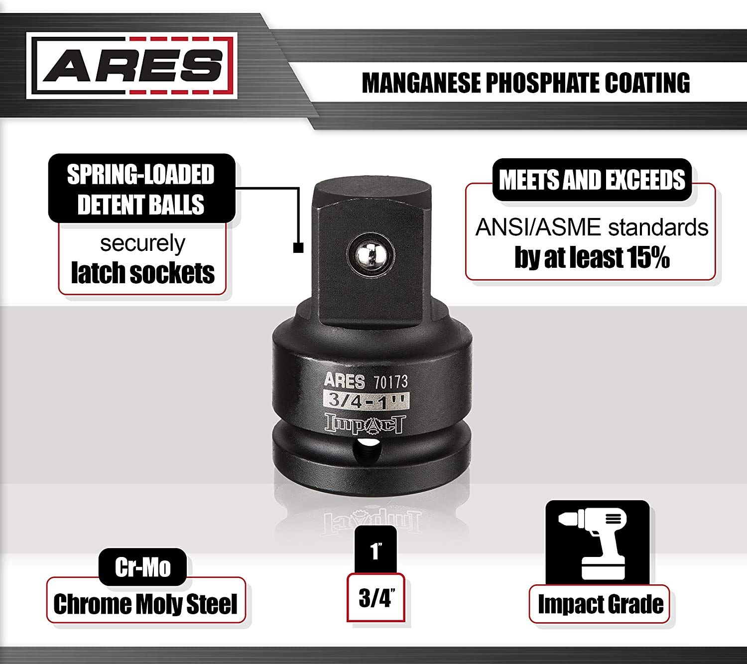 1-inch F to 3//4-inch M Impact Socket Adapter Chrome-Molybdenum Steel Construction Exceeds ANSI Standards and Ensures Life Time Use ARES 70174