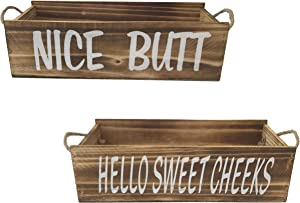 Nice Butt Farmhouse Kitchen Decor for the Home | 2 Sided Nice Butt Bathroom Decor Box | Rustic Kitchen Decor and Accessories | Bathroom Toiler Box | Dining Room Wall Decor | Kitchen Table Decor Gift