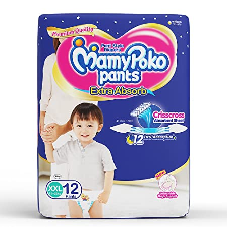 MamyPoko Pants Extra Absorb Diapers, XXL (Pack of 12) Diaper Pants at amazon