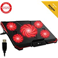 KLIM™ Cyclone Laptop Cooler - Maximal Cooling - 5 Fans - Cooling Pad for Computer - Gamer Gaming - New 2020 Version - Red