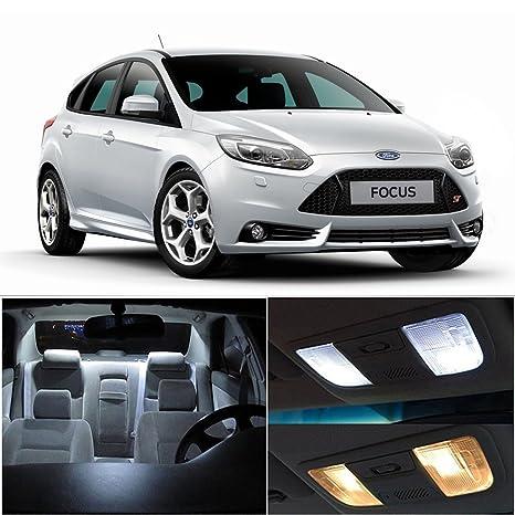 cciyu 12 piezas para Ford Focus 2010 – 2016 Xenon Blanco Led bombillas luz interior paquete