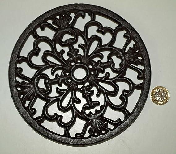Salvamanteles de hierro fundido rústico con diseño de corazón, 17,5 cm, para ollas y teteras: Amazon.es: Hogar