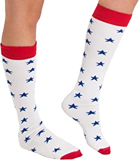 product image for Chrissy's Socks Women's Patriotic Star Knee High Socks 7-11 Red/White/Blue