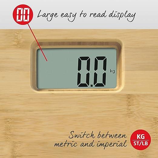 Salter - Báscula de baño digital - Pesaje electrónico del cuerpo, kg métrico/libra imperial, plataforma de bambú resistente al agua, pantalla de fácil ...