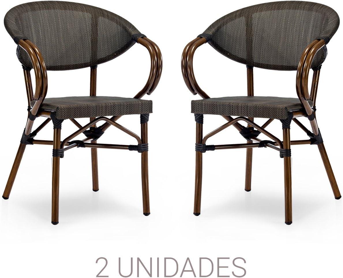 Natural Vintage Garage Roden Sillón, Aluminio Tela, Marron Negro, 57.00x57.00x83.00 cm, 2 Unidades
