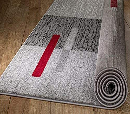 Rio Summit 306 Grey Red Area Rug Modern Abstract Many Sizes Available 5' x 7'.2""