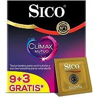Sico Condones De Látex Texturizados Con Benzocaína, Sico Mutual Clímax, Cartera Con 9 Piezas + 3, color, 12 count, pack of/paquete de