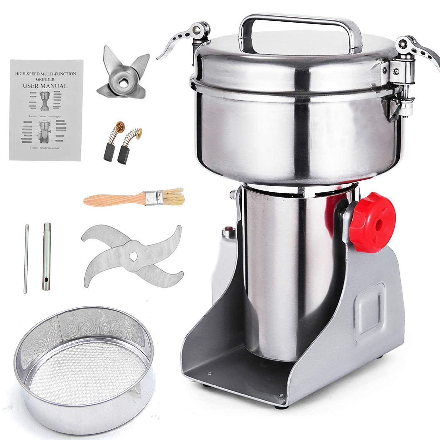 Electric Grain Mill Grinder 710g(1.5lb) Grain Capacity 110V Swing Type High Speed and High Power Herb Grain Spice Grinder Cereal Salt Pepper Coffee Grinder Flour Powder Machine by Speder