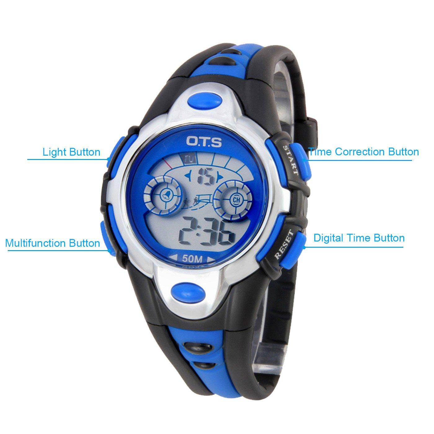 OTS - Reloj Digital Deportivo Impermeable Luminoso de Cuarzo con Alarma para Niños y Estudiantes - Color Azul: Amazon.es: Relojes