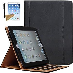 Case for iPad 2 / iPad 3 / iPad 4, Lingsor Multi-Angle Viewing Stand Folio Cover w/Pocket, Fit Model A1395 A1396 A1397 A1403 A1416 A1430 A1458 A1459 A1460, Magnetic Smart Auto Wake/Sleep, Black