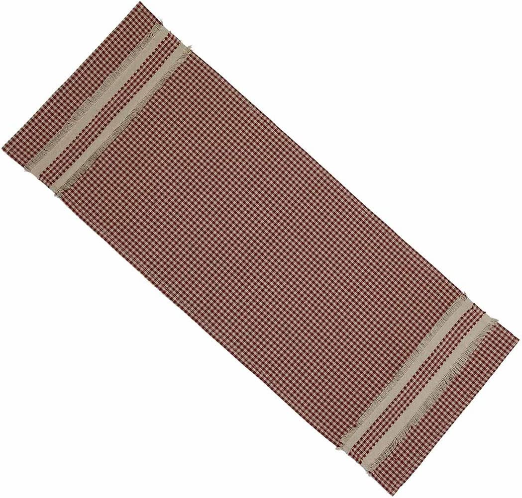 Home Collection by Raghu Newbury Gingham with Trim Barn Red and Oat Table Runner, 14 by 36