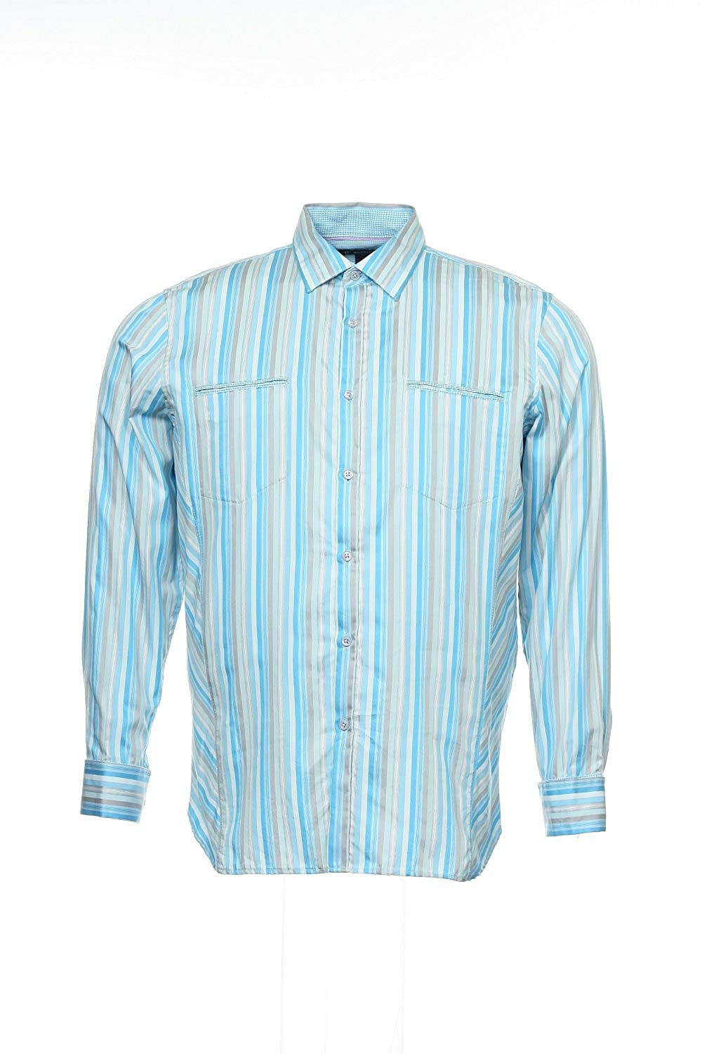INC International Concepts Mens Light Blue Vertical Striped Button Down Shirt