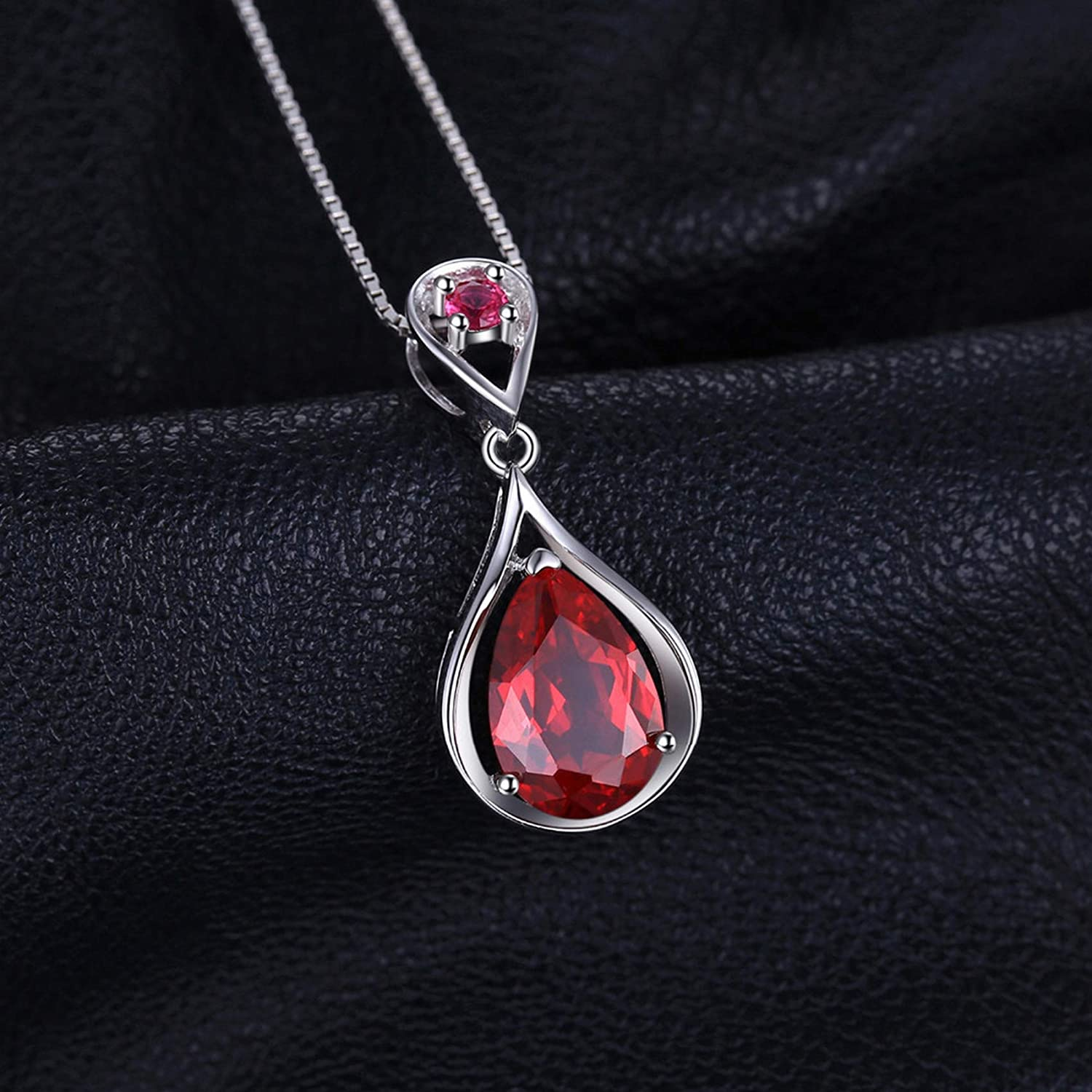 CS-DB Silver 4.32ct Red Ruby Party Style GemPendants Necklaces For Womens