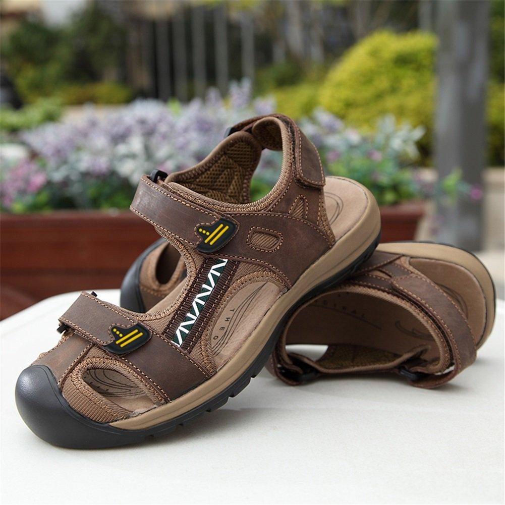 HUAN Herren Outdoor Sandalen Große Größe Sport Schutzkappe Wandern Sandalen Quick Dry Schutzkappe Sport Sommer Schuhe Braun C 6a64e1