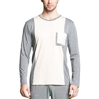 Michael Stevenson Patchwork Pajama Sets For Couple O-Neck Lounge Wear Men Long Sleeve Sleepwear