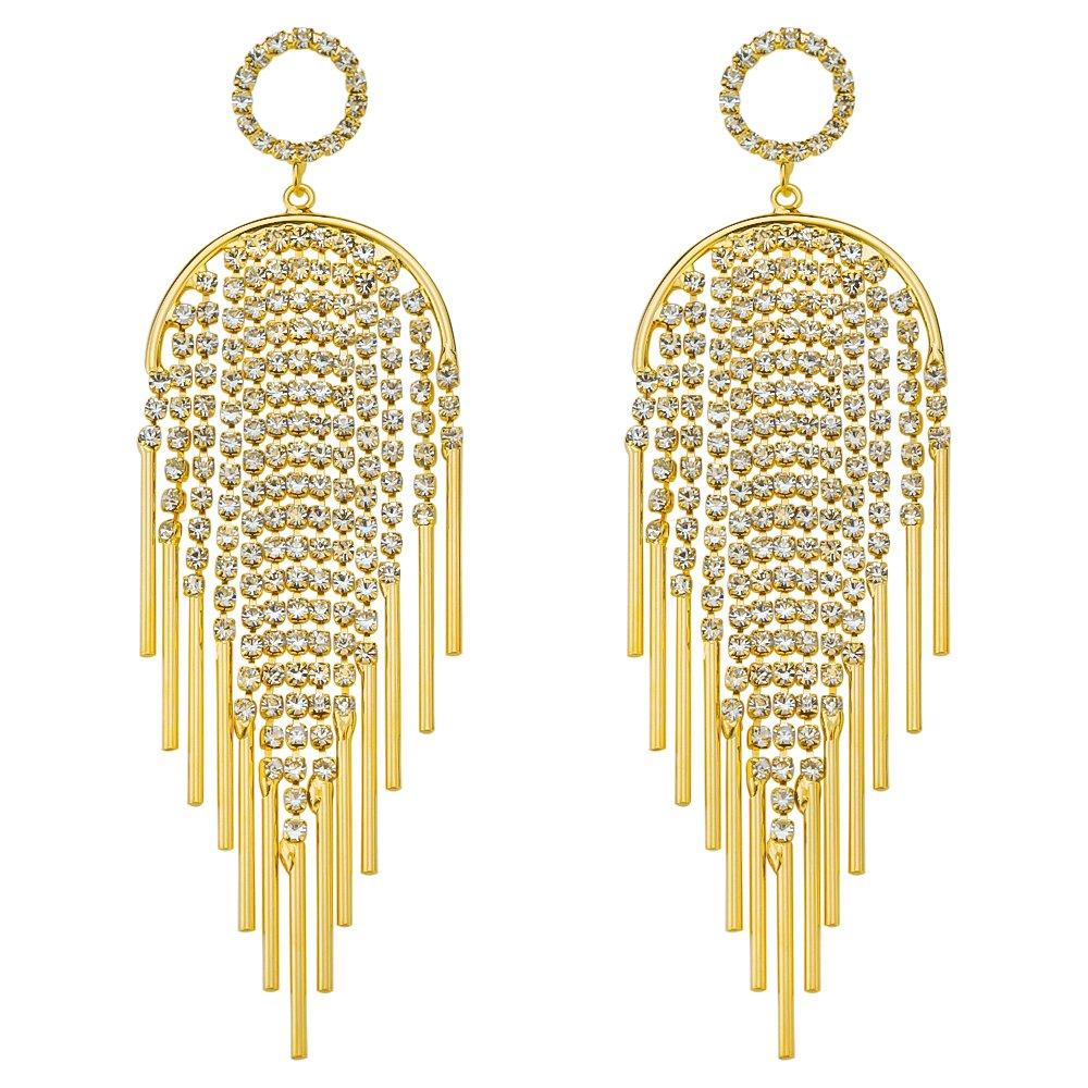 Bridal Wedding Jewelry Gold Plate Clear Crystal Art Deco Tassel Drop Long Chandelier Dangle Earrings