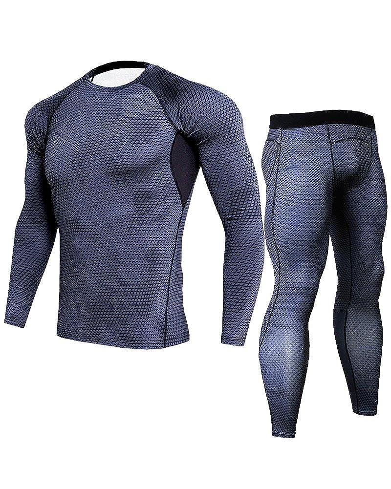 Uomo Sportivo Abbigliamento Manica Lunga Tight T-Shirt Fitness Jogging Pantaloni Compressione