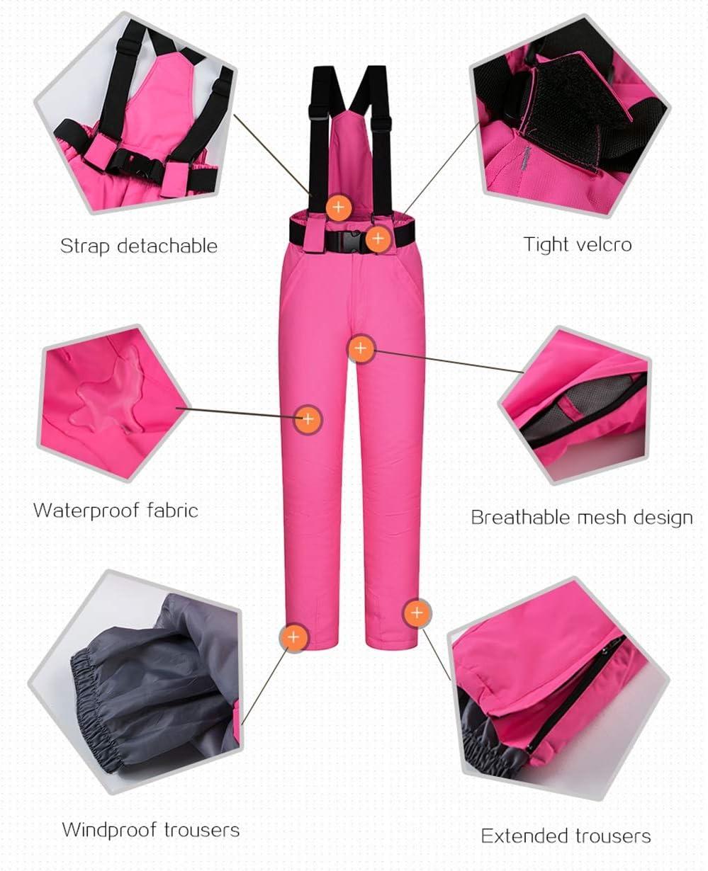 HQEFC Combinaisons de Neige Femmes Vestes et Pantalons Ensemble de Ski d'hiver Coupe-Vent Imperméable Respirant Combinaison de Ski G