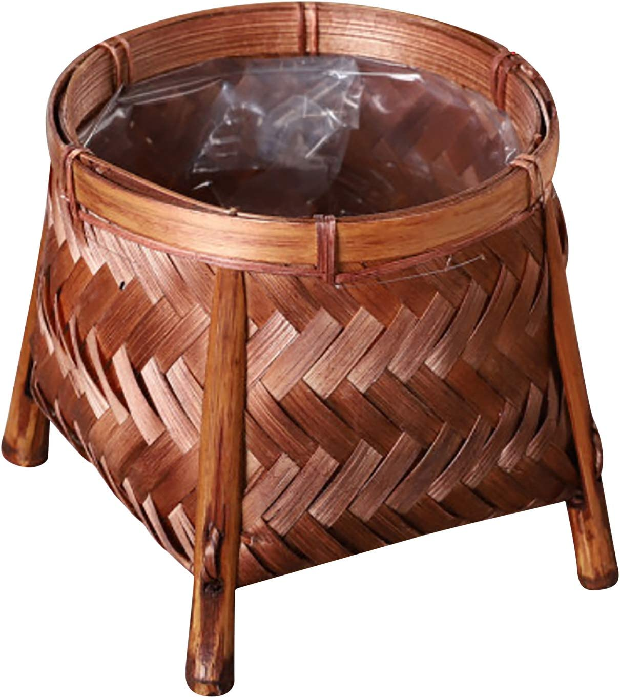 Rattan Plant Stand - Hand Woven Rattan Straw Basket for Plant Pots - Reddish Brown Plant Basket - Plant Stands for Indoor Plants - Japanese Garden Flower Pots with Legs - Tropical Modern Decor