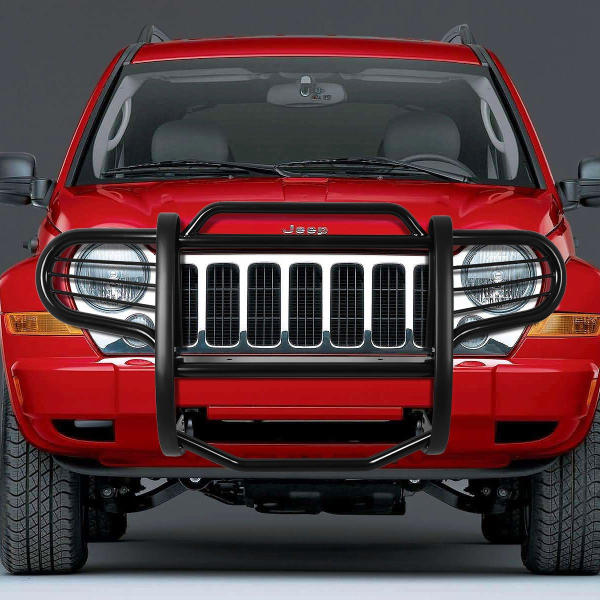 For 02-07 Jeep Liberty DNA Motoring GRILL-G-045-BK Black Front Bumper Brush Grille Guard