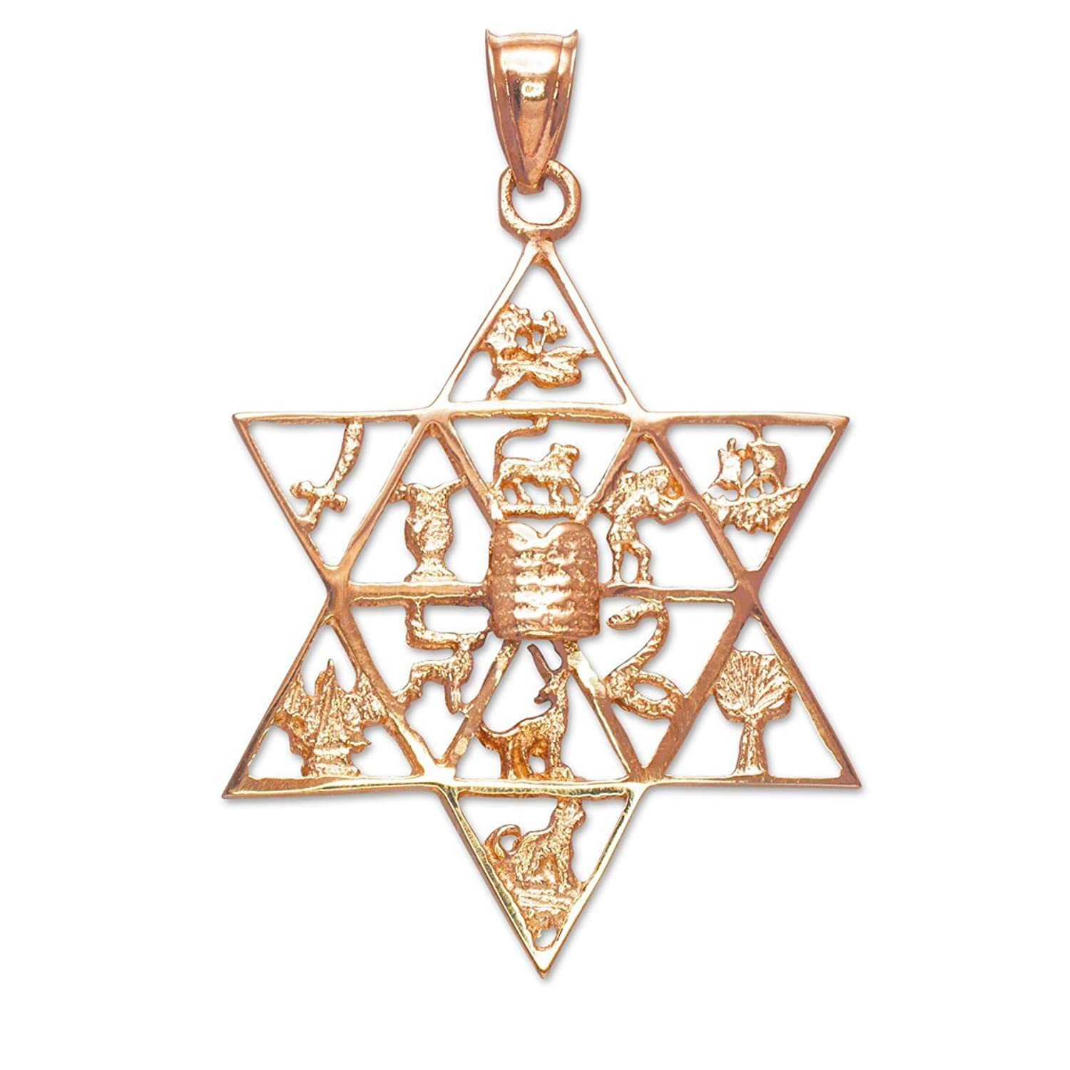 Fine 10k Rose Gold Jewish Star of David Charm 12 Tribes of Israel Pendant