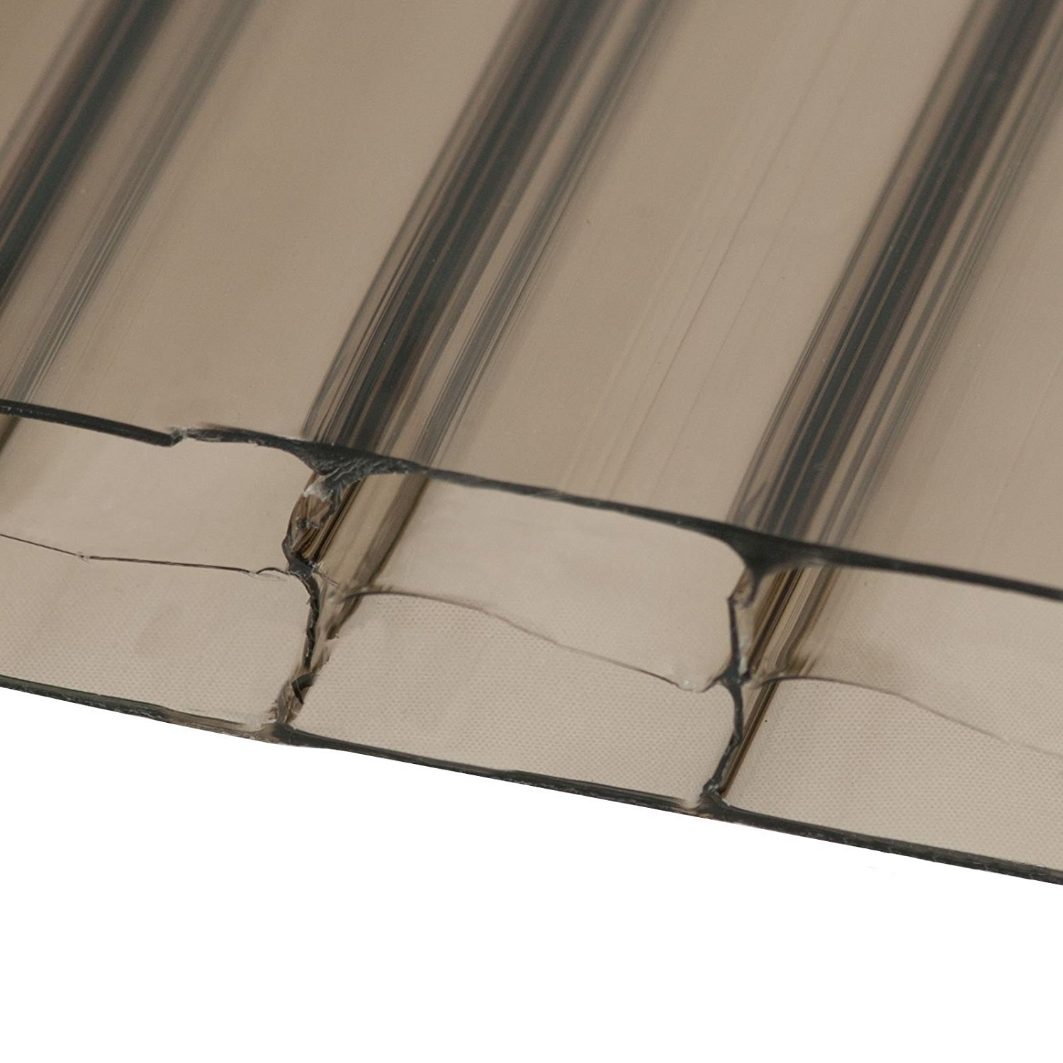 Bronze, 800m x 2.5m (Width x Length) 10mm Multiwall Polycarbonate Sheets Poly Plastic Roof Panel for Lean-to Canopy Conservatory Clear Amber