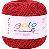 golo Crochet Thread Yarns for Begingers Size 20 (Wine red) Cotton Yarn Fou Hand Knitting
