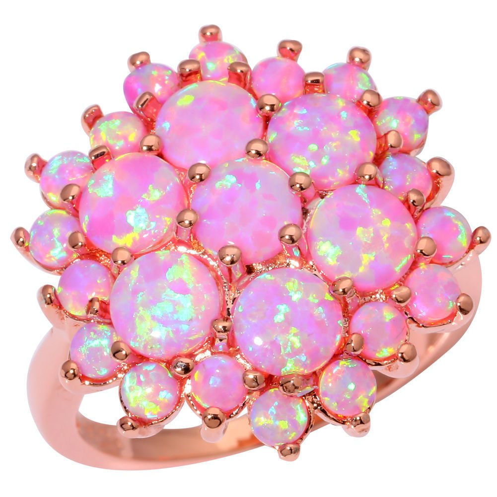 CiNily Created Pink Fire Opal Silver Rose Gold Filled Women Jewelry Gemstone Ring Size 7-9 Shenzhen Xi En Jewelry co. ltd OJ8976