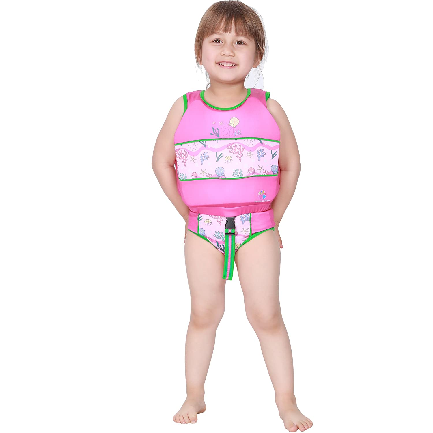Q 2 Pcs Pack Kids Swimwear and Swimming Vest Trainer Life Jacket Combo with Adjustable Safety Buckle and Back Zipper M MAJOR