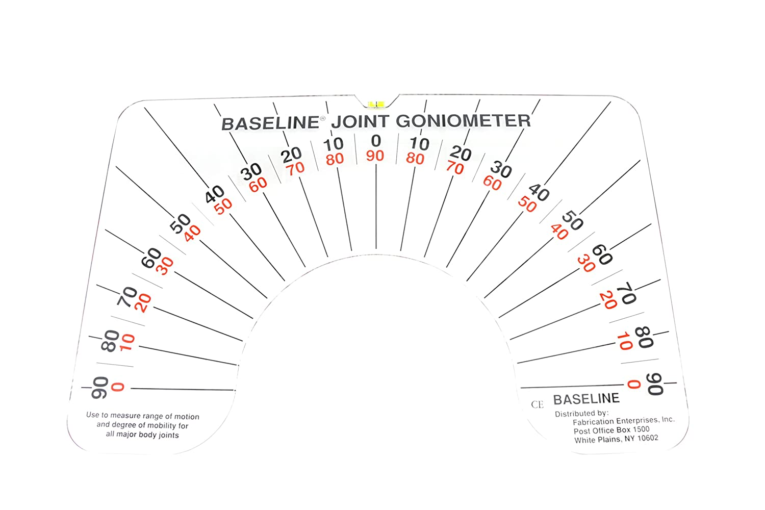 Baseline Large Joint Arthrodial Protractor Goniometer to Measure Joint Limits, Range Of Motion, Cervical Rotation, Lateral Flexion and Anterior-Posterior Cervical Flexion in Active / Passive Movement