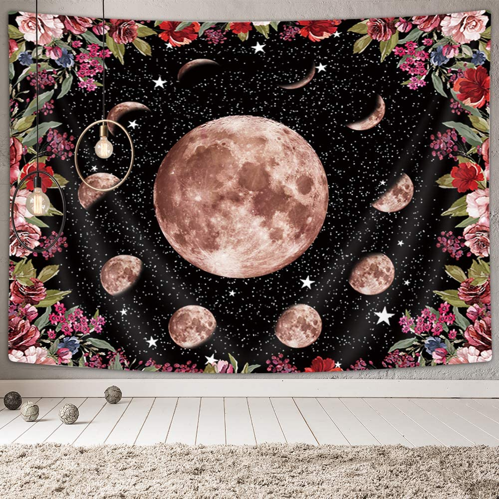 "NYMB Moonlit Garden Tapestry, Moon Phase Surrounded by Mystic Vines and Flowers Black Backgrounds Wall Tapestry, Psychedelic Tapestry Wall Hanging Blanket Home for Bedroom Living Room Dorm (60""X40"")"