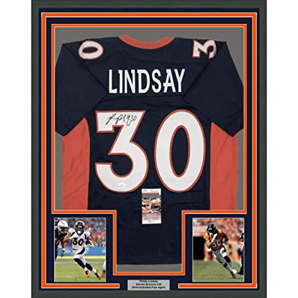best sneakers 941a1 42c46 Framed Autographed/Signed Phillip Lindsay 33x42 Denver Blue ...