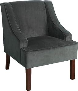 HomePop Velvet Swoop Arm Accent Chair, Dark Gray