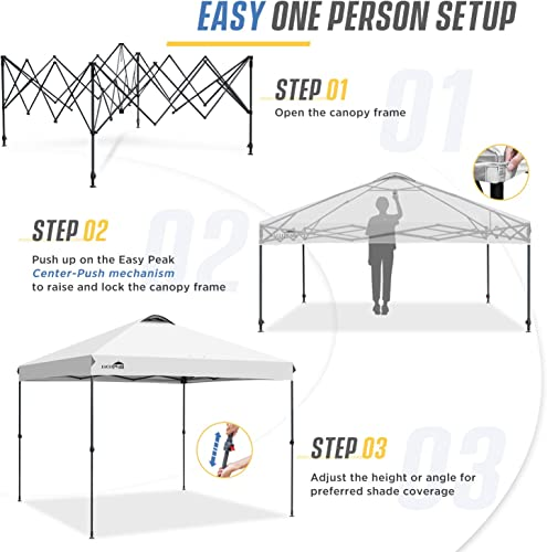 EAGLE PEAK 10 x 10 Straight Leg Pop Up Canopy Tent Instant Outdoor Canopy Easy Single Person Set-up Folding Shelter w Infinite Adjustable Legs and 100 Square Feet of Shade White