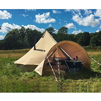 Playdo Cotton Canvas Bell Tent Porch C&ing Awning Sun Shade Shelter Beige Color & Amazon.com : Playdo Cotton Canvas Bell Tent Porch Camping Awning ...