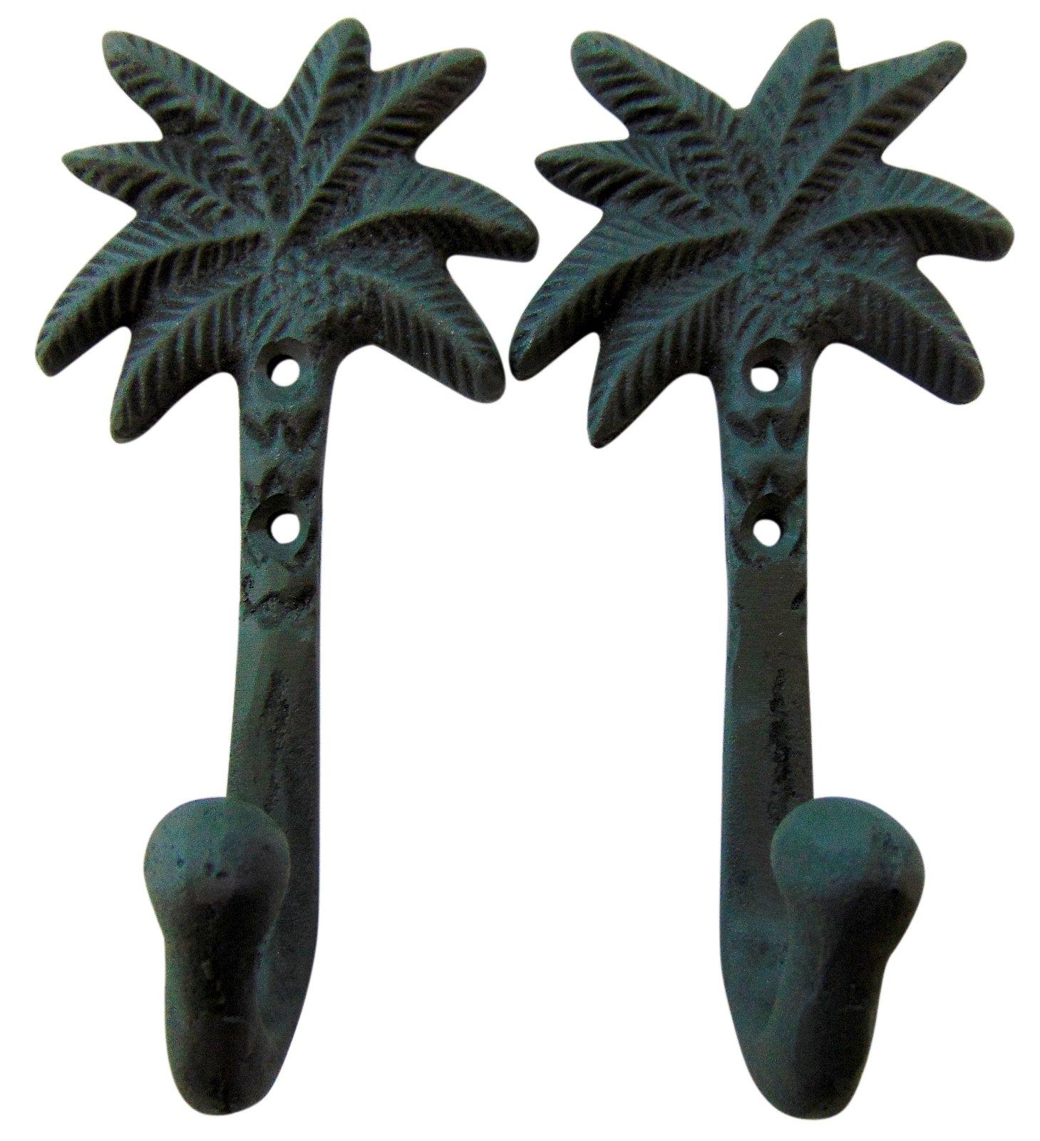 Set of 2 Cast Iron Palm Tree Hooks Tropical Tiki Home Decor