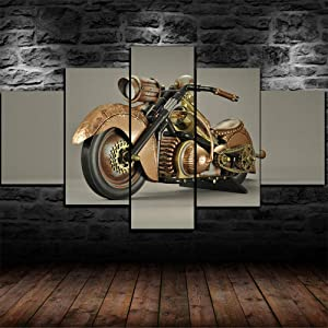 Luck7 Steampunk Motorcycle Poster 5 Piece Canvas Print Wall Art Decor Framed Canvas Paintings Ready to Hang for Home Decorations Wall Decor-150x80cm
