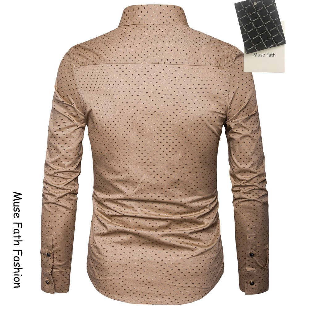 MUSE FATH Men's Printed Dress Shirt-100% Cotton Casual Long Sleeve Shirt-Button Down Point Collar Shirt-Khaki New-XL by MUSE FATH (Image #2)