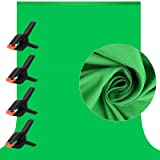 7 X 10 ft Photography Chromakey Green Screen Backdrop, Soft Pure GreenScreen Sheet Virtual Background for Zoom, Polyester Clo