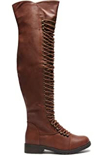 Amazon.com | Travis 05 Women Military Lace Up Thigh High Combat ...