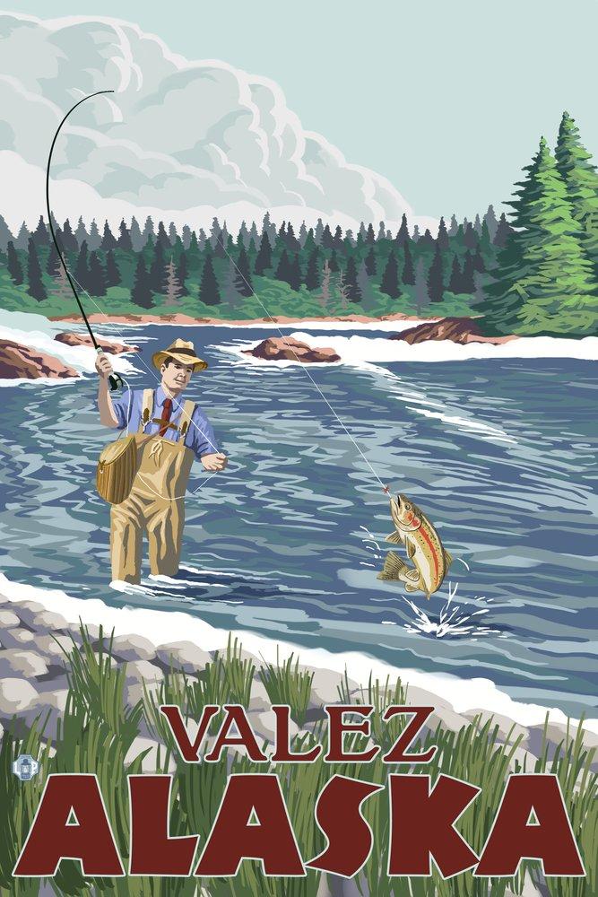 Fly fisherman – Valdez、アラスカ 36 x 54 Giclee Print LANT-13822-36x54 36 x 54 Giclee Print  B017E9WSA4