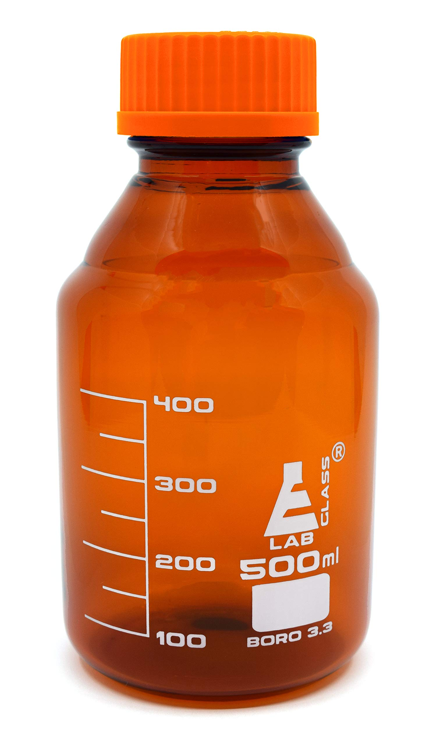 Eisco Labs 500ml Amber Reagent Bottle with Screw Cap and 50ml Graduations by EISCO