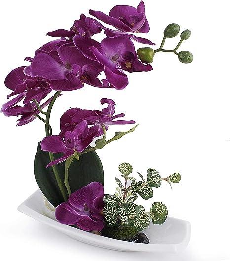 Oferta amazon: True Holiday - Arreglos de orquídeas artificiales con jarrón de porcelana blanca, flores y plantas artificiales para decoración de interiores, de plástico, diseño realista